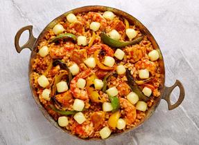 Paella aux poivrons grillés et au Monterey Jack