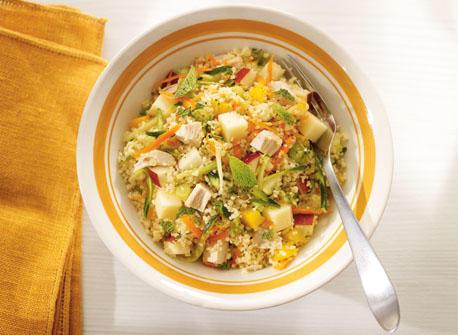 Couscous au poulet, aux légumes et au Gouda Recette