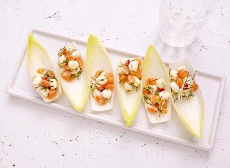 Endives au Bocconcini, saumon et fenouil  Recette