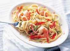 Linguine aux crevettes à l'ail  recipe