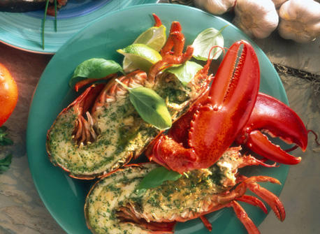 Homards grill s au basilic recette plaisirs laitiers - Accompagnement homard grille ...