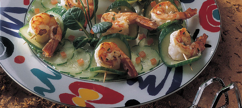 Bouchées grillées de crevettes et concombre recette | Plaisirs ...