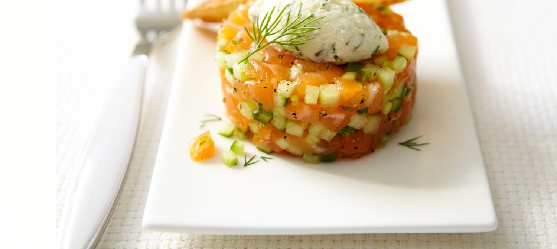 Tartare de saumon au melon et au mascarpone recette - Cuisiner avec du mascarpone ...