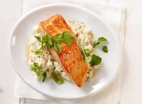Filet de saumon sur purée de pommes de terre au fromage à la crème