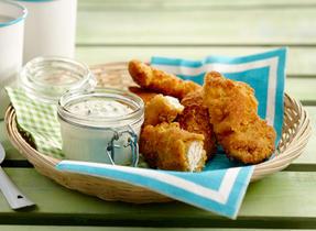 Poulet frit américain, sauce au bleu