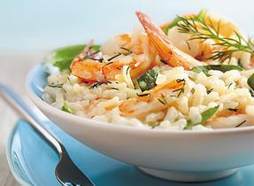 Risotto aux épinards et aux crevettes