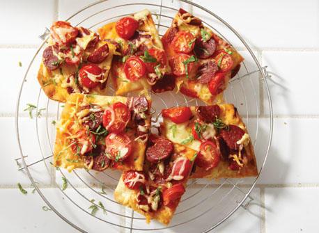 Pizza de style tapas au chorizo et au Gouda Recette