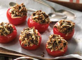 Tomates farcies à la duxelles de champignons et au Cantonnier de Warwick
