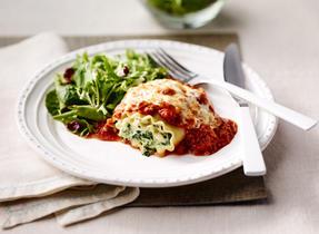 Gratin de lasagne roulée aux épinards et au veau