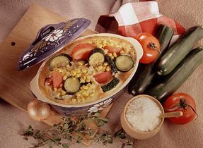 Courgettes, maïs et tomates au gratin