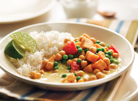 Curry végétarien aux patates douces et pois chiches Recette