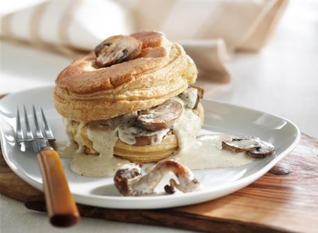 Feuilleté de champignons à la crème de noisette Recette
