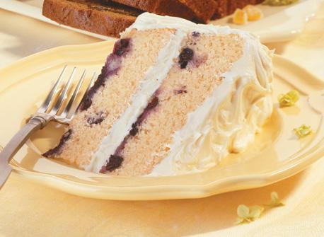 Gâteau étagé aux bleuets glacé au citron Recette