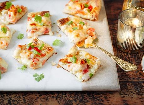 Pizza festive aux fruits de mer  Recette
