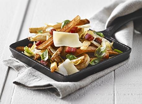 Pommes de terre rôties à la pancetta et au Cheddar Recette