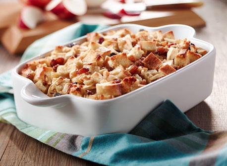 Pouding de pain perdu aux pommes et aux raisins  Recette