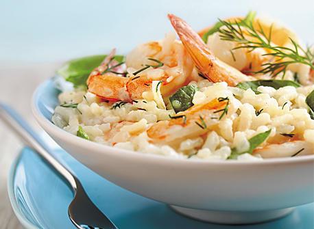Risotto aux épinards et aux crevettes Recette