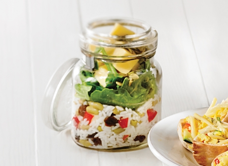 Salade au Monterey Jack en pot Mason Recette