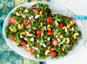 Salade de lentilles au chou vert frisé et à la Feta