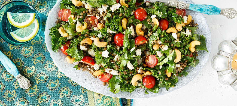 Salade de lentilles au chou vert fris et la feta - Accompagnement salade verte ...