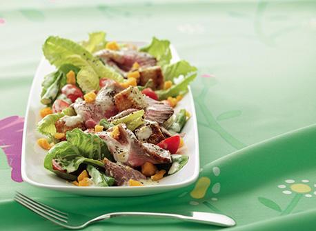Salade repas au r ti de boeuf recette plaisirs laitiers - Cuisiner un roti de boeuf au four ...