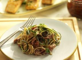 Spaghetti aux courgettes, aux tomates séchées et au yogourt