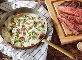 Steak aux champignons mélangés à partager en famille